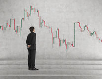 Businessman looking at candlestick chart Royalty Free Stock Images