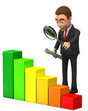 Businessman looking at the chart. 3d businessman looking at the chart Stock Photo