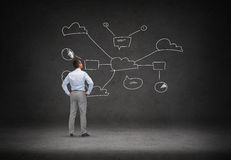 Businessman looking at cloud computing scheme Stock Photos
