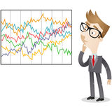 Businessman looking at complicated statistics. Vector illustration of a confused cartoon businessman looking at complicated colorful statistics Royalty Free Stock Photos