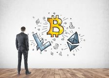 Businessman looking at cryptocurrency, bitcoin Royalty Free Stock Photo