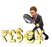 Businessman looking at currency symbols. 3d businessman looking at currency symbols Royalty Free Stock Photography