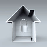 Businessman looking at  3d house with padlock icon. As insurance concept Royalty Free Stock Photography