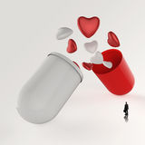 Businessman looking at 3d multiple hearts. Inside capsule pill as concept Stock Photos