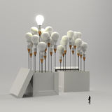 Businessman looking at 3d pencil and light bulb Stock Images