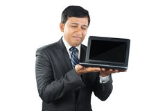 Businessman looking depressed with Laptop Stock Images