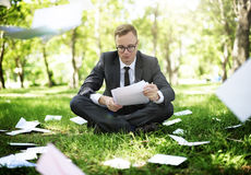 Businessman Looking Document Stress Worry Concept Stock Photography