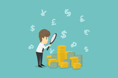 Businessman looking on dollar through magnifying glass.Business. Young cartoon happiness of success concept is man character.View businessman emotions moving Stock Images
