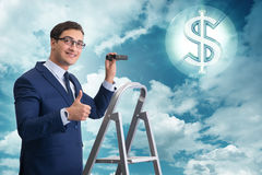 The businessman looking for dollars with binoculars Stock Photos
