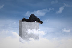 Businessman looking down from the top Royalty Free Stock Photo