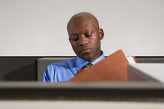 Businessman looking at files Stock Images