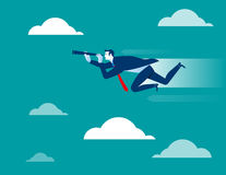 Businessman looking and flying to success. Concept business illustration. Vector flat Stock Photos