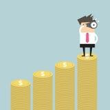 Businessman looking future on money graph. Vector illustration Stock Image