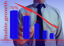Businessman looking graph stability. Screen Royalty Free Stock Photos