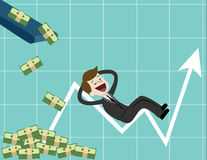 Businessman looking for growth chart ,money and pointing finger to raise the graph get a lot of money. Chart growth and success concept. Cartoon Vector Royalty Free Stock Image