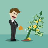 Businessman looking for growth chart and money. Businessman looking for growth chart ,money and pointing finger to raise the graph get a lot of money. Chart Royalty Free Stock Image