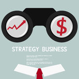 Businessman  Looking for growth chart and money .Vision concept. Stock Photography