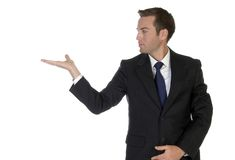 Businessman looking his palm Royalty Free Stock Photography