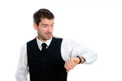 Businessman is looking on his watch Stock Images