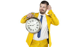 Businessman looking idea, but he lacks the time Stock Photos