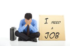 Businessman looking for a job Stock Images
