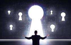 Businessman looking through keyhole. Successful businessman looking through keyhole Stock Photography