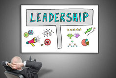 Businessman looking at leadership concept. Relaxed businessman looking at leadership concept on a whiteboard Royalty Free Stock Photos