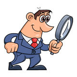 Businessman is looking through the loupe 2 Stock Photography
