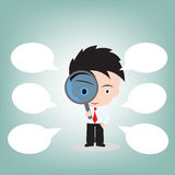 Businessman looking through a magnifying glass for searching and bubble speech, vector illustration in flat design Royalty Free Stock Photo