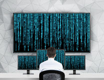 Businessman looking matrix stock image