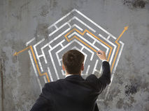 Businessman looking at a maze Royalty Free Stock Image