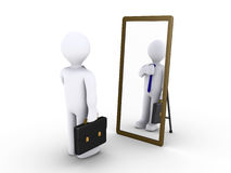 Businessman looking in the mirror. 3d businessman looking in a mirror to become presentable Royalty Free Stock Photos
