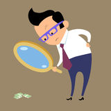 Businessman looking for money in magnifying glass. Earnings Finance and business. Businessman looking for money in magnifying glass royalty free illustration
