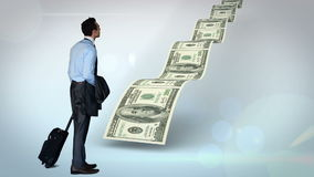 Businessman looking at money path stock footage