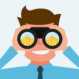 Businessman Looking for money. Vision and investment concept. Cartoon Vector Illustration Stock Photo