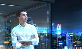 Businessman looking at Moscow City Stock Photo