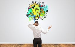 Businessman looking for new idea stock photography