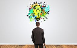 Businessman looking for new idea royalty free stock images