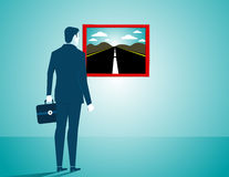 Businessman looking for a new road. Concept business illustratio. N. Vector flat Stock Photography