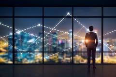 Businessman looking at night city, graphs vector illustration
