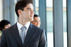 Businessman looking outside Royalty Free Stock Photo