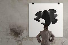 Businessman looking at  Partnership Puzzle Stock Image