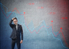Businessman looking puzzled on the background of stock market crashing. Businessman with his hand on his head looking puzzled on the background of stock market royalty free stock photos