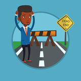Businessman looking at road sign dead end. Man looking at road sign dead end symbolizing business obstacle. Man facing with business obstacle. Business obstacle Royalty Free Stock Images