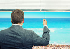 Businessman looking at sea Stock Image