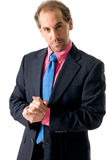 Businessman looking seriously. Businessman with pink shirt looking serious on white background Stock Photos