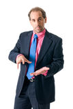 Businessman looking seriously isolated on white. Businessman with pink shirt looking serious on white background Royalty Free Stock Image