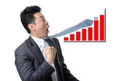 Businessman looking shocked in financial graph be over goal isol Royalty Free Stock Photos