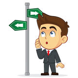 Businessman Looking at a Sign That Points in Many. Clipart Picture of a Male Businessman Cartoon Character Looking at a Sign That Points in Many Directions Royalty Free Stock Images
