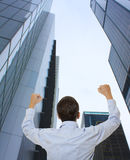 Businessman looking at a skyscraper Stock Photography